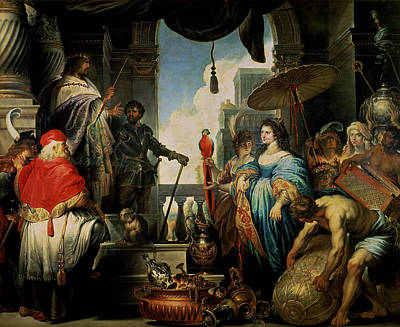 King Parrot Photograph - Solomon And The Queen Of Sheba Oil On Canvas by Erasmus Quellinus