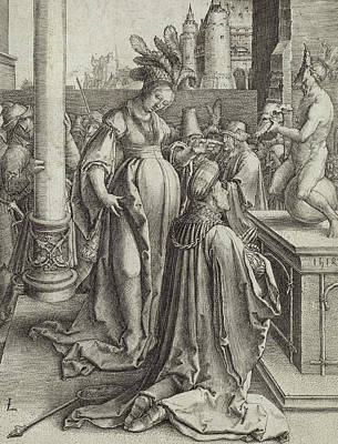 Crowds Painting - Solomon Prays In Front Of A Graven Image by Lucas van Leyden