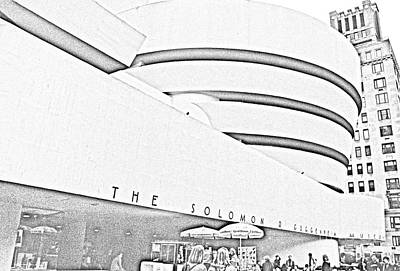 Digital Art - Solomon R. Guggenheim Museum by Liz Leyden