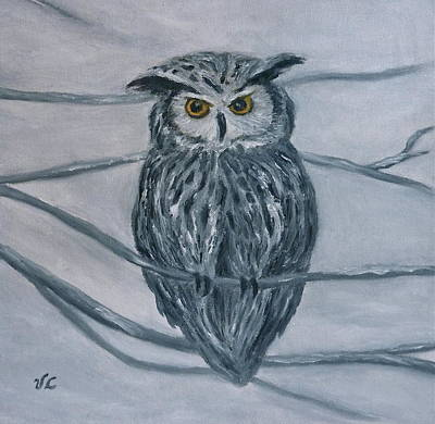 Painting - Solstice Owl by Victoria Lakes