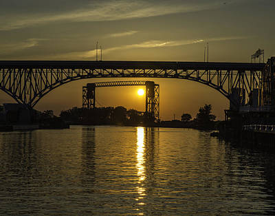 Solstice Sun Through Two Bridges Art Print