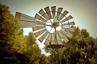 Honest Abe Painting - Solvang Windmill by Barbara Snyder