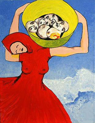 Basket Head Painting - Solveigs Dilemma by Sanne Rosenmay