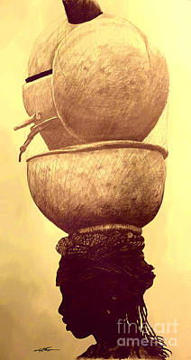 Indigenous Culture Drawing - Somalian Girl With Pots by Joel Thompson