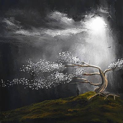 Healing Art Painting - Somber Reflection by Lourry Legarde