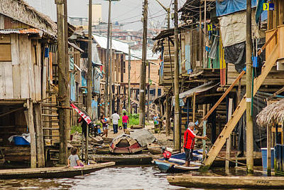 Photograph - Some Dry Land In Floating Shanty Town by Allen Sheffield