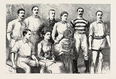Tennis Drawing - Some English Lawn Tennis Players, Engraving 1884, Uk by English School