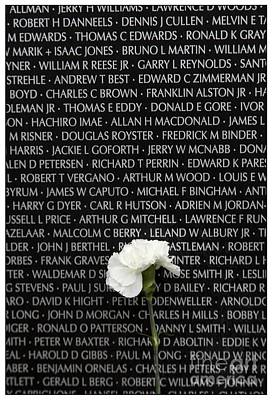 Flower Memorial Photograph - Some Gave All - Vietnam Veterans Memorial by Edward Fielding