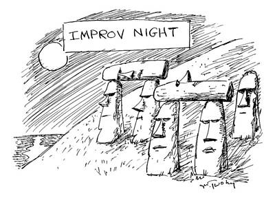 Island Drawing - Some Moai Statues On Easter Island Support Others by Mike Twohy