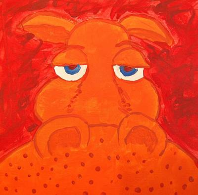 Some What Annoyed Orange Hippo Art Print by Yshua The Painter