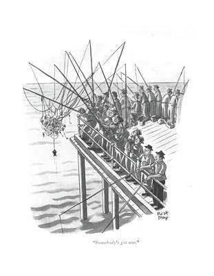 Dock Drawing - Somebody's Got One by Robert J. Day