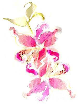 Lilium Painting - Someone Left Flowers Outside My Door by Carolyn Weltman
