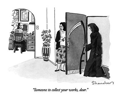Black Humor Drawing - Someone To Collect Your Works by Danny Shanahan