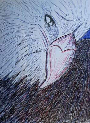 Angel Blues Drawing - An Eagle And Angel To Watch Over U by Christy Saunders Church