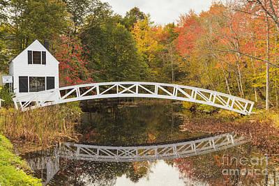 Somesville Bridge In Autumn Mount Desert Island Maine Art Print by Ken Brown