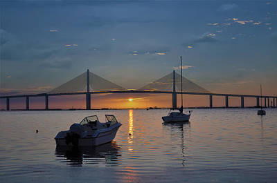 Sunshine Skyway Bridge Wall Art - Photograph - Something About A Sunrise by Bill Cannon