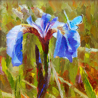 Eklutna Painting - Alaskan Wild Iris And Blue Butterfly Flower Painting by Karen Whitworth
