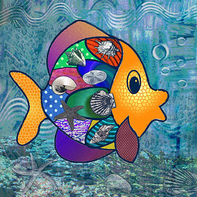 Goldfish Digital Art - Something Fishy by Jennifer Schwab