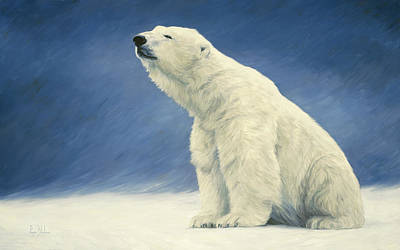 Polar Bear Wall Art - Painting - Something In The Air by Lucie Bilodeau