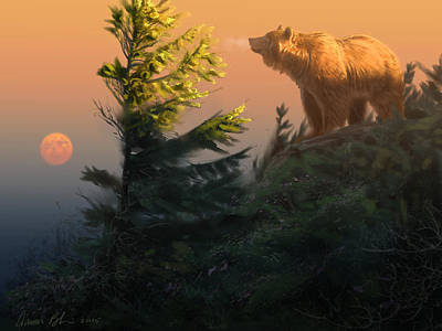 Something On The Air - Grizzly Art Print by Aaron Blaise