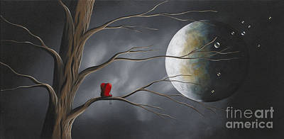 Big Moon Painting - Sometimes He Just Wants To Be Alone By Shawna Erback by Shawna Erback