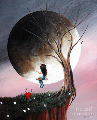 Big Moon Painting - Sometimes She Just Wants To Be Alone By Shawna Erback by Shawna Erback