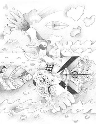 Abstract Movement Drawing - Sometimes Sideways by Helena Tiainen