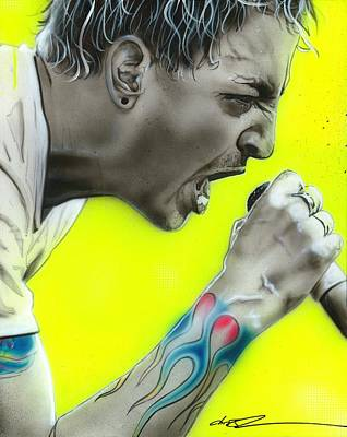 Bennington Painting - Chester Bennington - ' Somewhere I Belong ' by Christian Chapman Art