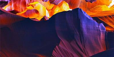 Golden Photograph - Somewhere In America Series - Antelope Canyon by Lilia D