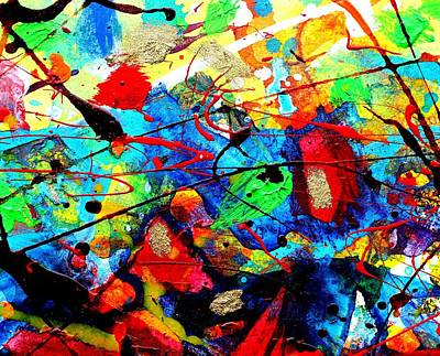 Red Abstract Art Mixed Media - Somewhere Over The Rainbow by John  Nolan