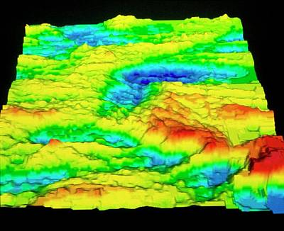 Galapagos Photograph - Sonar Image Of Ocean Floor Showing A Rift Valley by Dr Ken Macdonald/science Photo Library