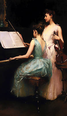 Lady Playing Piano Painting - Sonata by Mountain Dreams