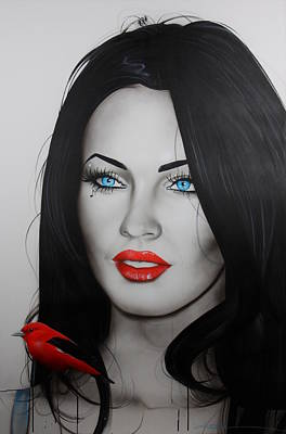 Megan Fox - ' Song Bird ' Art Print by Christian Chapman Art