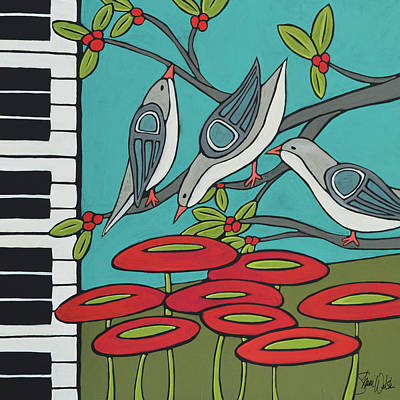 Piano Wall Art - Painting - Song Birds by Shanni Welsh