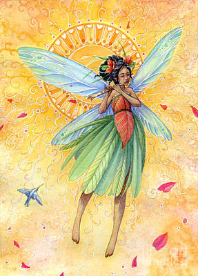 Fairy Art Painting - Song Of Summer by Sara Burrier