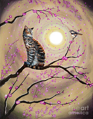 Fantasy Cats Painting - Song Of The Chickadee by Laura Iverson