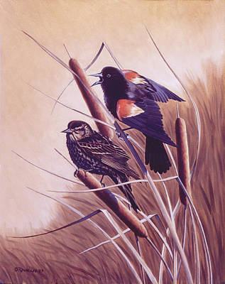 Cat Tail Painting - Song Of The Marsh by Richard De Wolfe