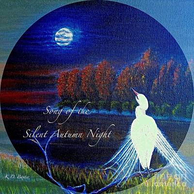Song Of The Silent  Autumn Night In The Round With Text  Art Print