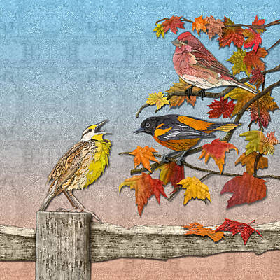 Meadowlark Digital Art - Song To An Autumn Morning by Robin Morgan
