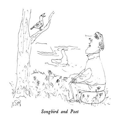 Person Drawing - Songbird And Poet by William Steig