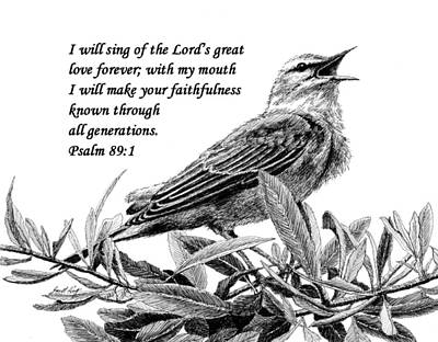 Drawing - Songbird Drawing With Scripture by Janet King