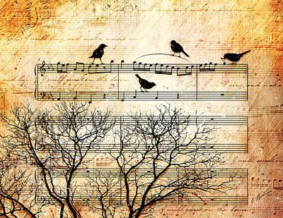 Note Digital Art - Songbirds by Gary Bodnar