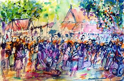 Painting - Songkran Festival  by Wanvisa Klawklean