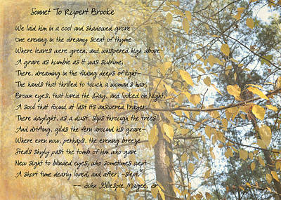 Photograph - Sonnet To Rupert Brooke by Paulette B Wright