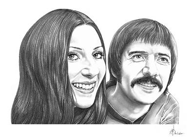 Cher Drawing - Sonny And Cher Bono by Murphy Elliott