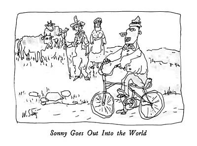 Sonny Drawing - Sonny Goes Out Into The World by William Steig
