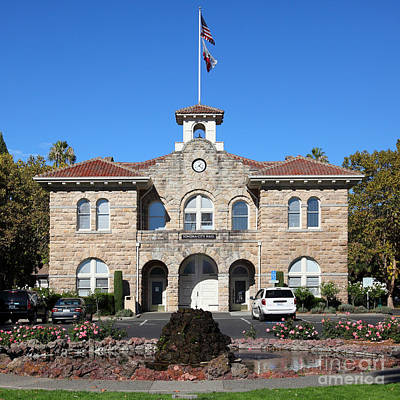 Stone Buildings Photograph - Sonoma City Hall Downtown Sonoma California 5d19260 Square by Wingsdomain Art and Photography
