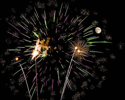 Photograph - Soot The Moon - Fireworks And Moon by Penny Lisowski