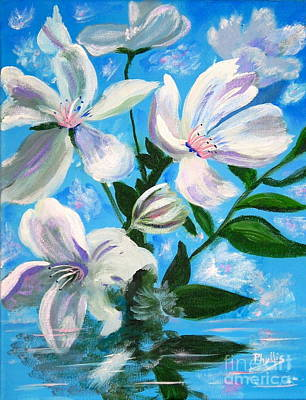 Painting - Soothing White Flowers by Phyllis Kaltenbach