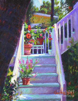 Red School House Painting - Soozi's Steps  by Candace Lovely